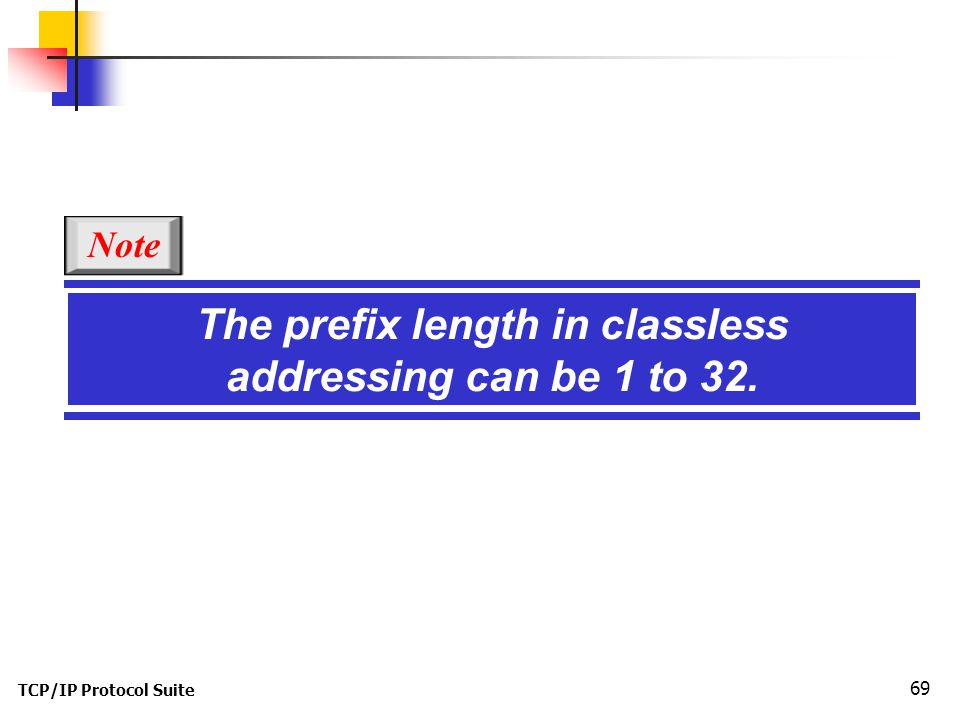The prefix length in classless addressing can be 1 to 32.