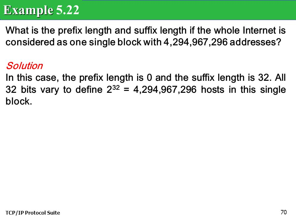Example 5.22 What is the prefix length and suffix length if the whole Internet is considered as one single block with 4,294,967,296 addresses