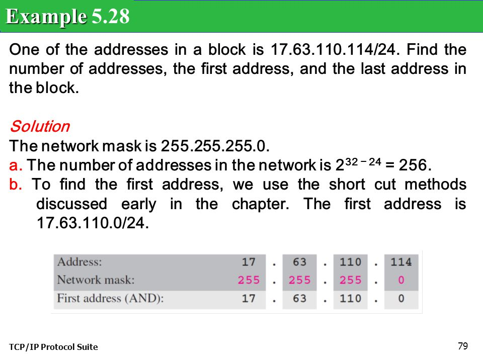 Example 5.28 One of the addresses in a block is 17.63.110.114/24. Find the number of addresses, the first address, and the last address in the block.