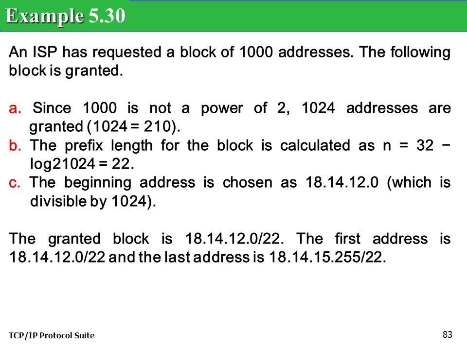Example 5.30 An ISP has requested a block of 1000 addresses. The following block is granted.