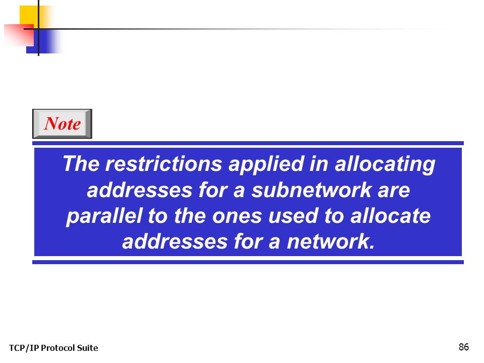 The restrictions applied in allocating addresses for a subnetwork are