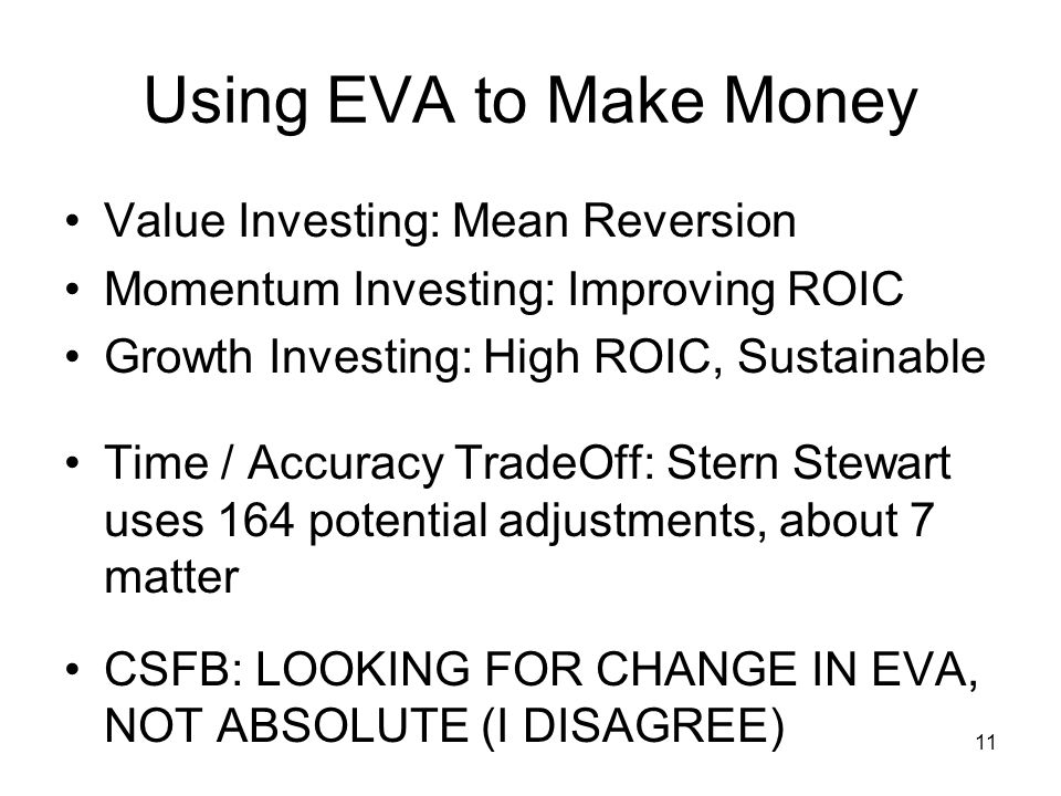 Using EVA to Make Money Value Investing: Mean Reversion