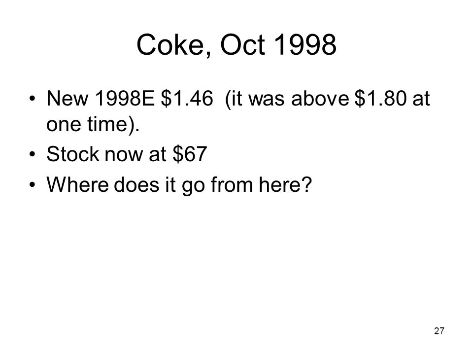 Coke, Oct 1998 New 1998E $1.46 (it was above $1.80 at one time).