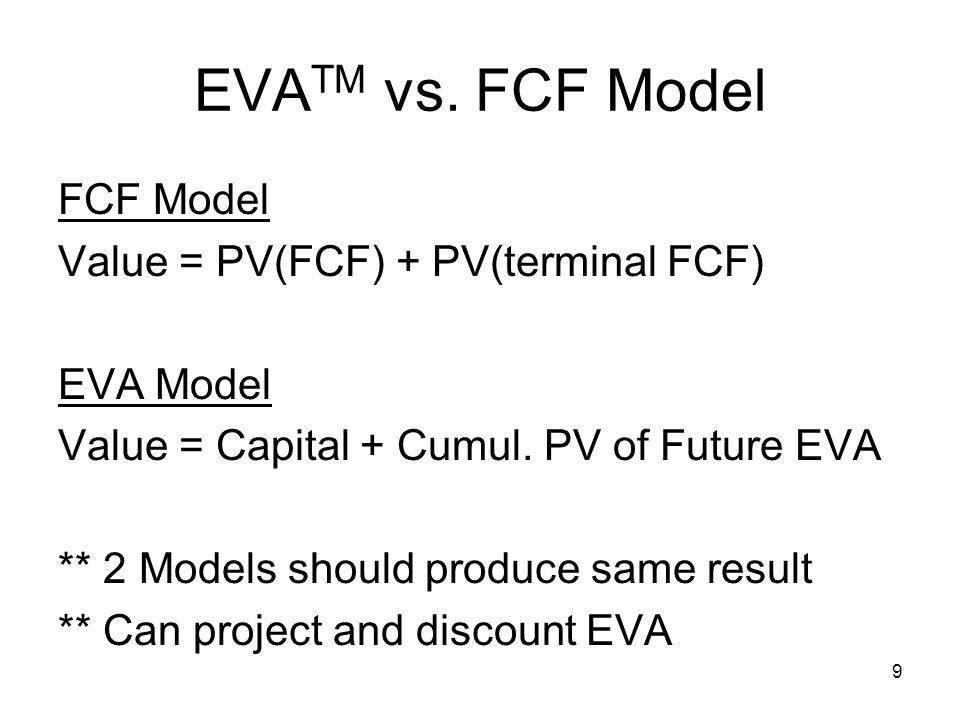 EVATM vs. FCF Model FCF Model Value = PV(FCF) + PV(terminal FCF)