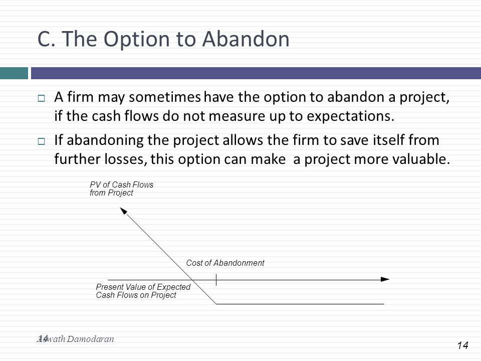 C. The Option to Abandon A firm may sometimes have the option to abandon a project, if the cash flows do not measure up to expectations.