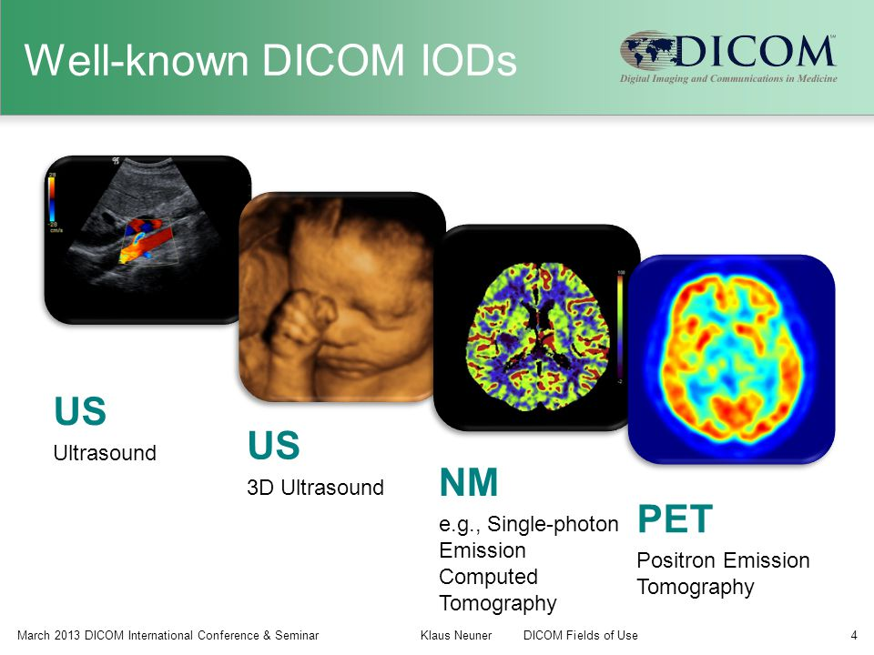 Well-known DICOM IODs US US NM PET Ultrasound 3D Ultrasound