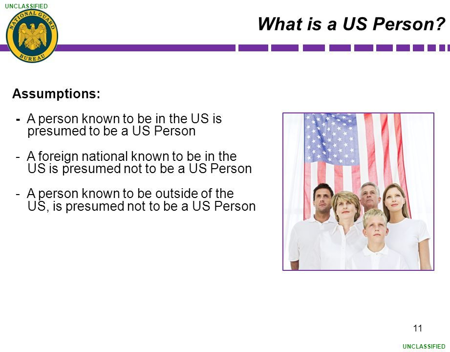 What is a US Person Assumptions:
