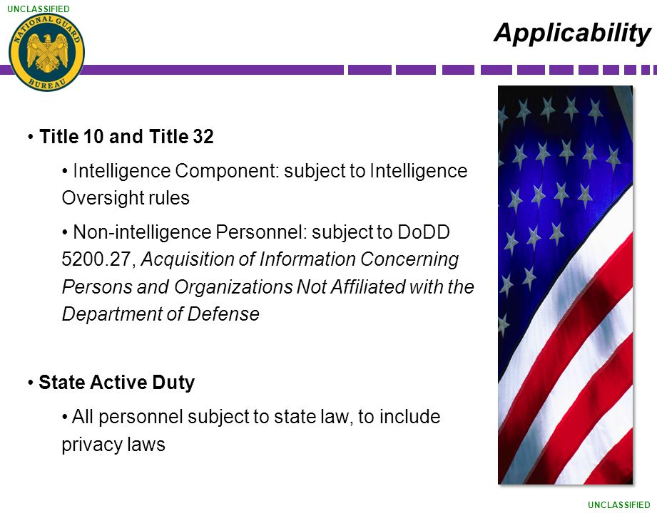 Applicability Title 10 and Title 32