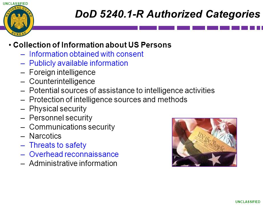 DoD 5240.1-R Authorized Categories