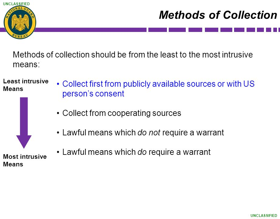 Methods of Collection Methods of collection should be from the least to the most intrusive means: