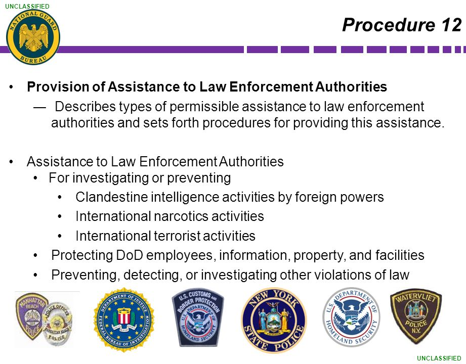 Procedure 12 Provision of Assistance to Law Enforcement Authorities