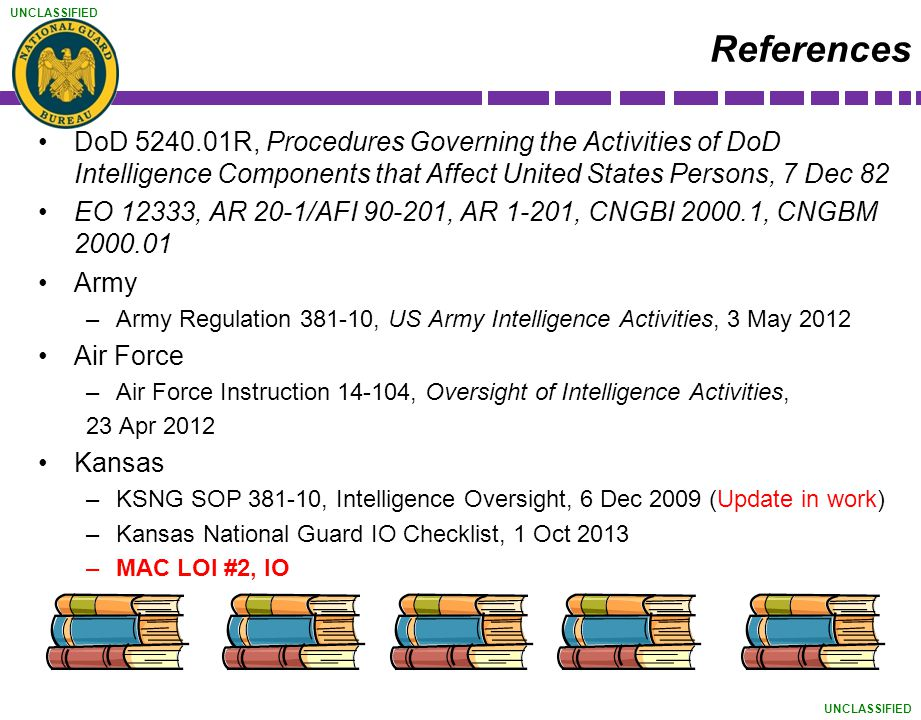 References DoD 5240.01R, Procedures Governing the Activities of DoD Intelligence Components that Affect United States Persons, 7 Dec 82.
