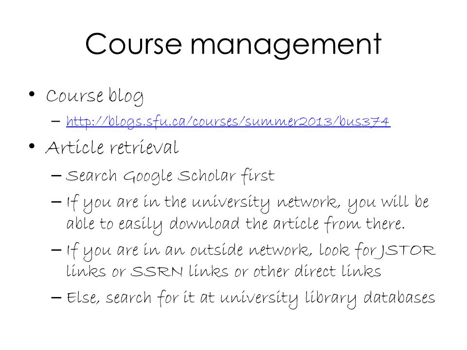 Course management Course blog Article retrieval