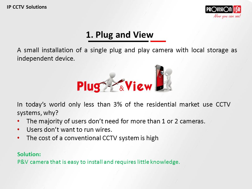 IP CCTV Solutions 1. Plug and View. A small installation of a single plug and play camera with local storage as independent device.