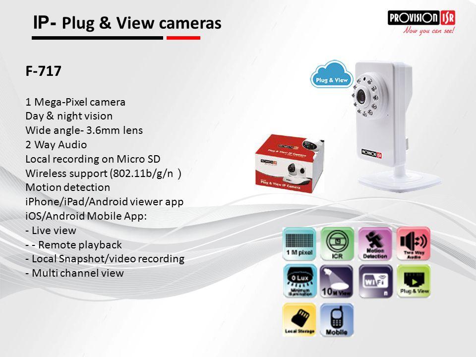IP- Plug & View cameras F-717 1 Mega-Pixel camera Day & night vision