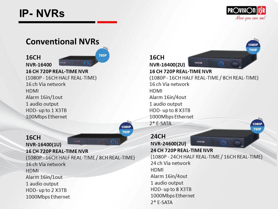 IP- NVRs Conventional NVRs 16CH 16CH 24CH NVR-16400