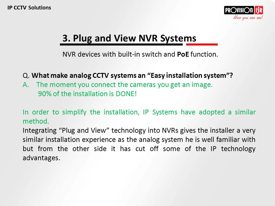 3. Plug and View NVR Systems