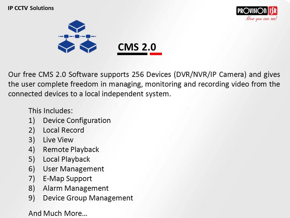 IP CCTV Solutions IP CCTV. CMS 2.0.