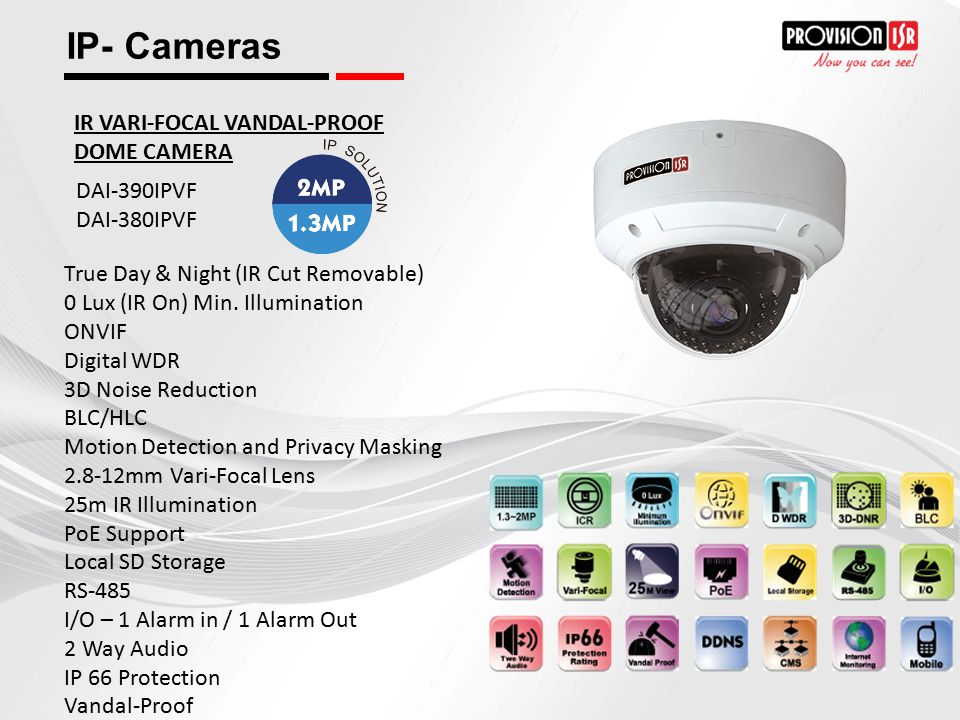 IP- Cameras IR VARI-FOCAL VANDAL-PROOF DOME CAMERA DAI-390IPVF