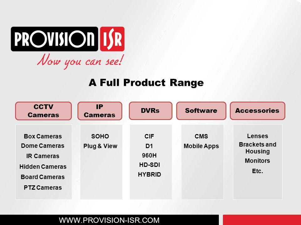 A Full Product Range WWW.PROVISION-ISR.COM CCTV Cameras IP Cameras