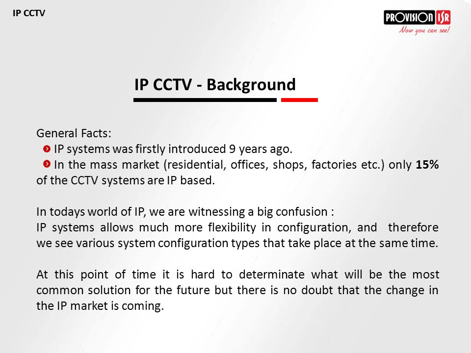 IP CCTV - Background General Facts: