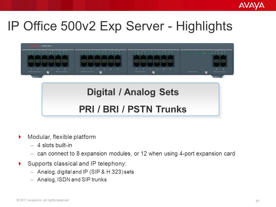 IP Office 500v2 Exp Server - Highlights