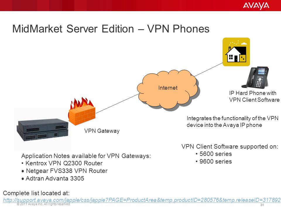 MidMarket Server Edition – VPN Phones