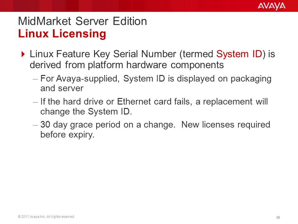 MidMarket Server Edition Linux Licensing
