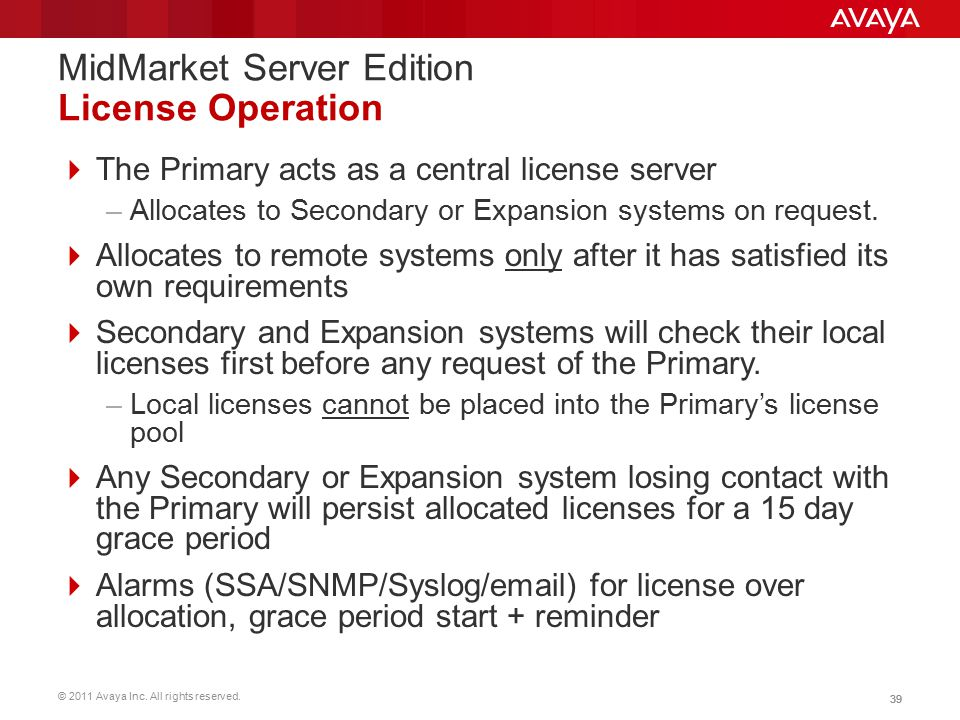 MidMarket Server Edition License Operation