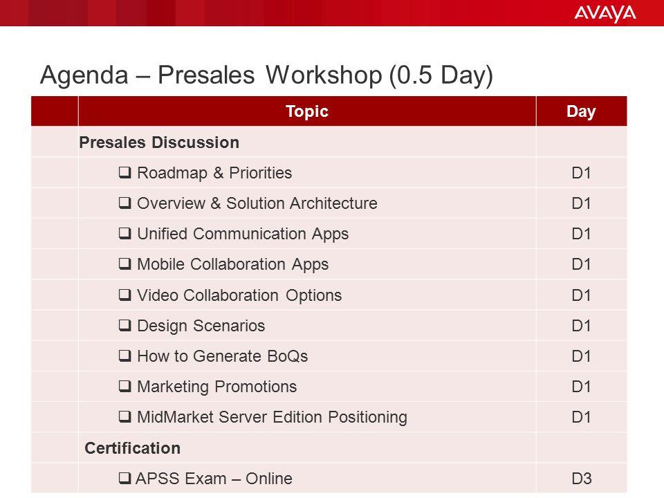 Agenda – Presales Workshop (0.5 Day)