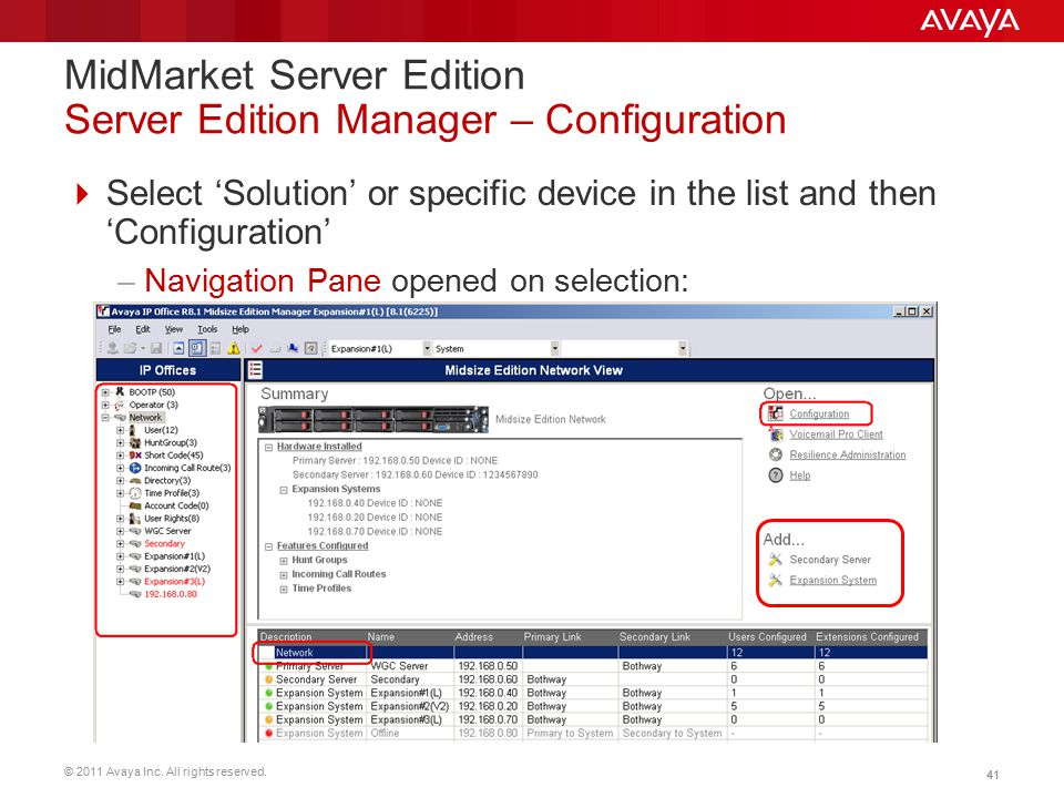 MidMarket Server Edition Server Edition Manager – Configuration