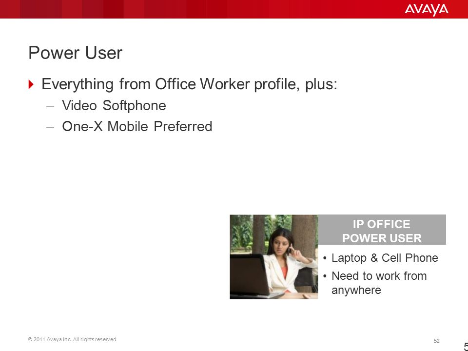 Power User Everything from Office Worker profile, plus: