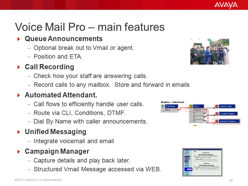Voice Mail Pro – main features