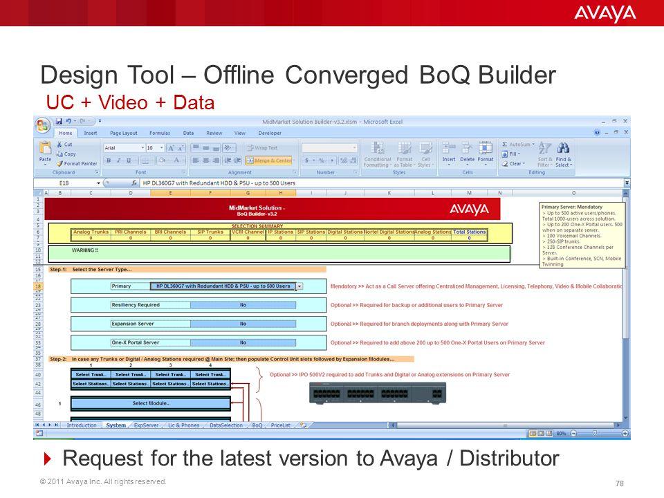 Design Tool – Offline Converged BoQ Builder