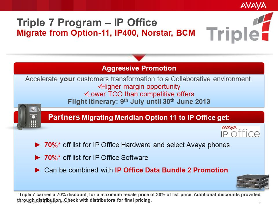 Triple 7 Program – IP Office