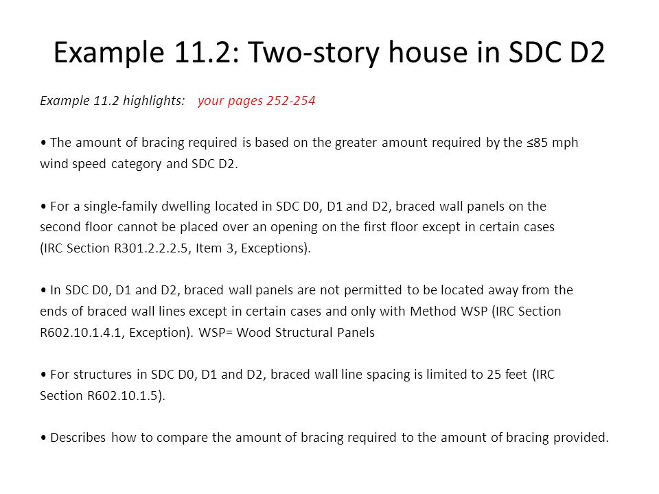 Example 11.2: Two-story house in SDC D2