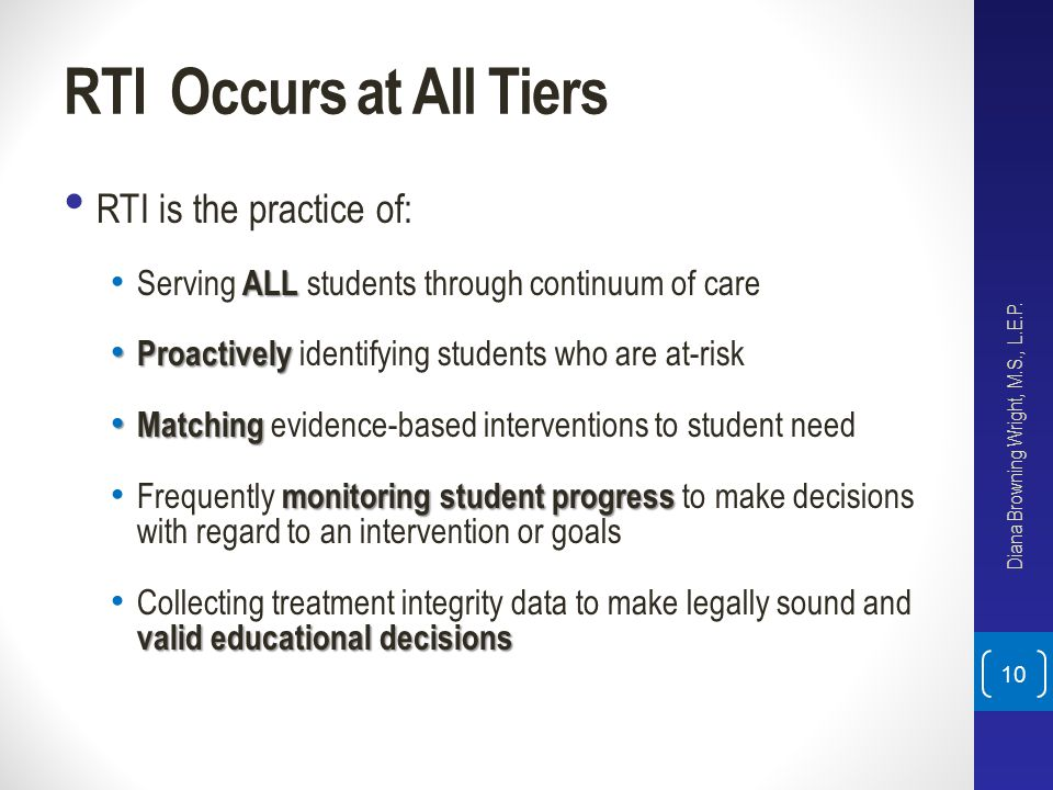 RTI Occurs at All Tiers RTI is the practice of: