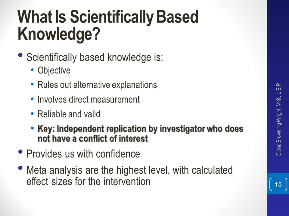 What Is Scientifically Based Knowledge