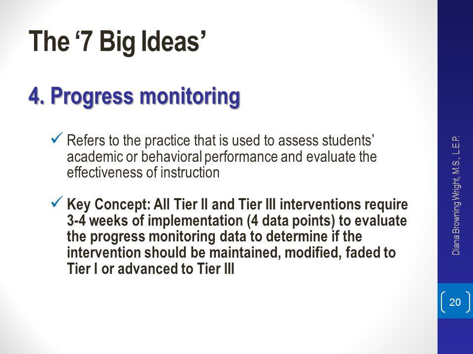The '7 Big Ideas' 4. Progress monitoring