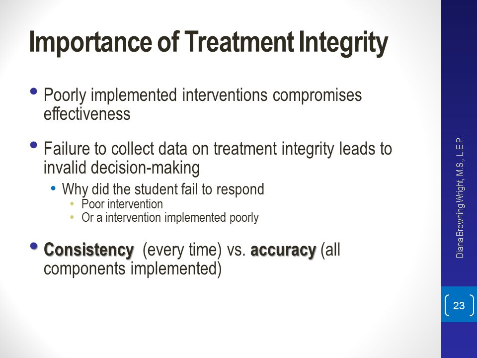 Importance of Treatment Integrity