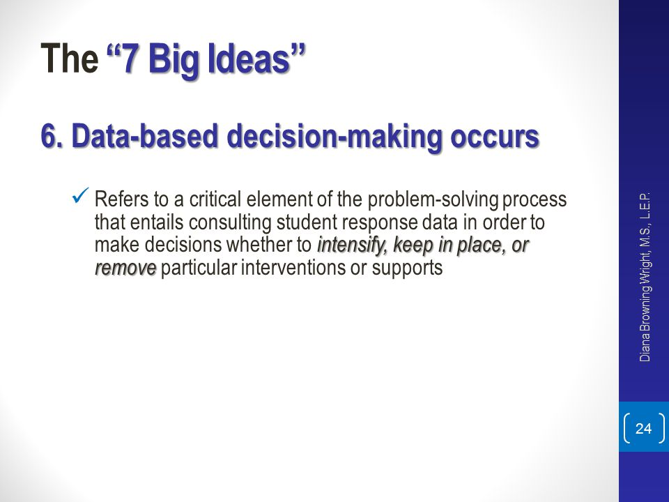 The 7 Big Ideas 6. Data-based decision-making occurs