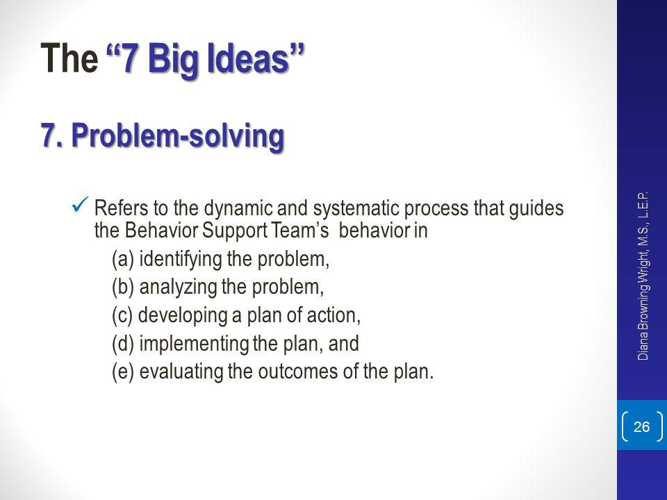 The 7 Big Ideas 7. Problem-solving
