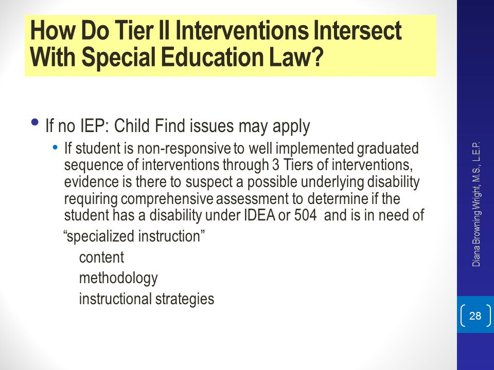 How Do Tier II Interventions Intersect With Special Education Law