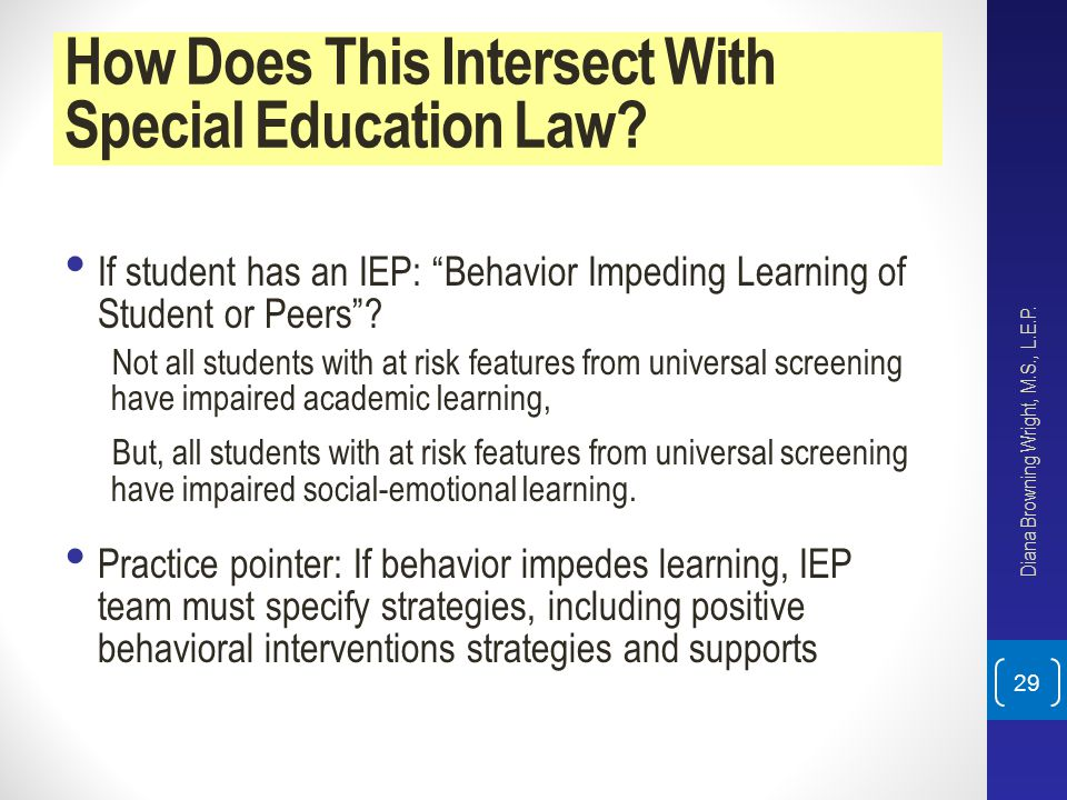 How Does This Intersect With Special Education Law