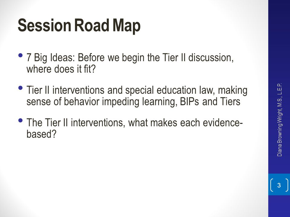 Session Road Map 7 Big Ideas: Before we begin the Tier II discussion, where does it fit