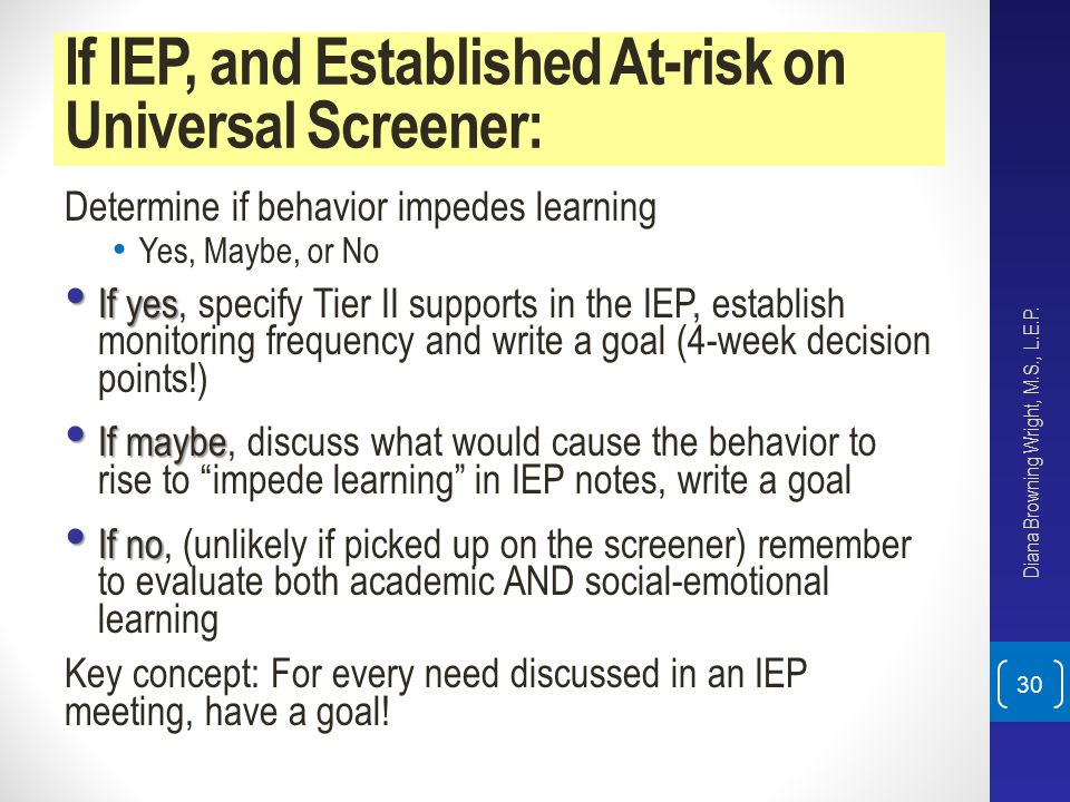 If IEP, and Established At-risk on Universal Screener: