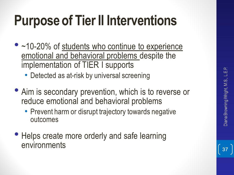 Purpose of Tier II Interventions