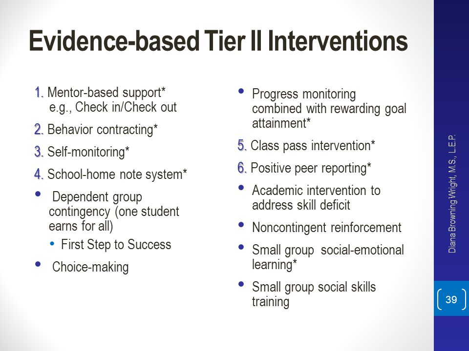 Evidence-based Tier II Interventions