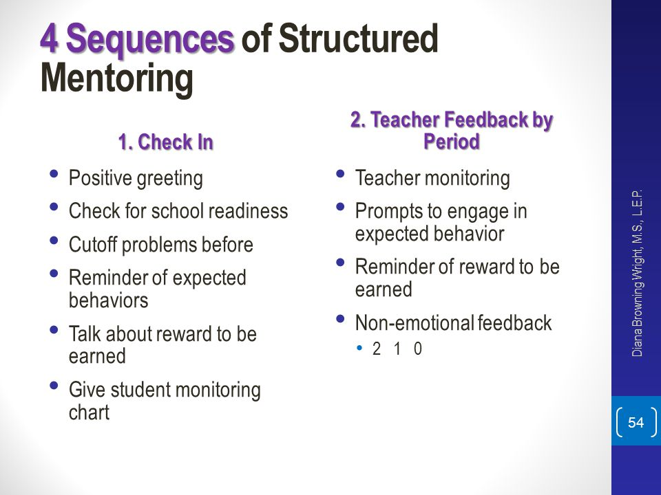4 Sequences of Structured Mentoring