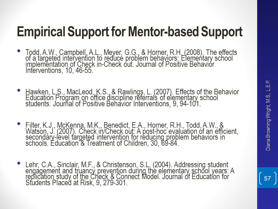 Empirical Support for Mentor-based Support